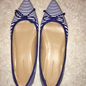 Blue and white stripped flats!